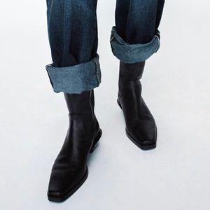 Zara leather heeled cowboy boots